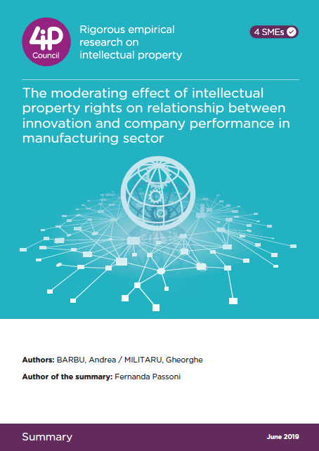 The moderating effect of intellectual property rights on relationship between innovation and company performance in manufacturing sector. (2019)