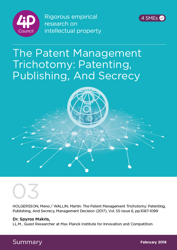 03 - The Patent Management Trichotomy: Patenting, Publishing, and Secrecy