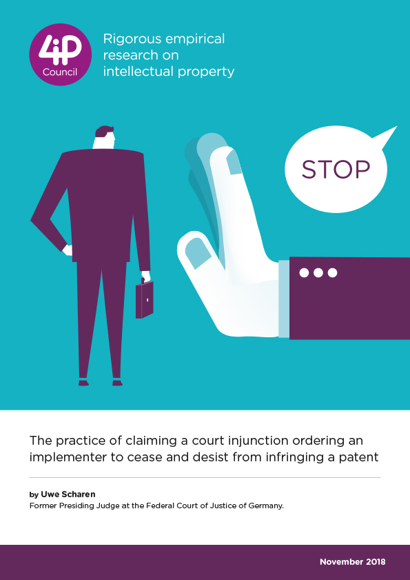 The practice of claiming a court injunction ordering an implementer to cease and desist from infringing a patent