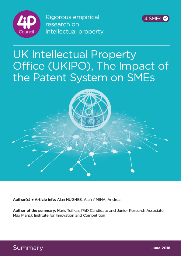 UK Intellectual Property Office (UKIPO), The Impact of the Patent System on SMEs, A Report to the Strategic Advisory Board for Intellectual Property (SABIP)