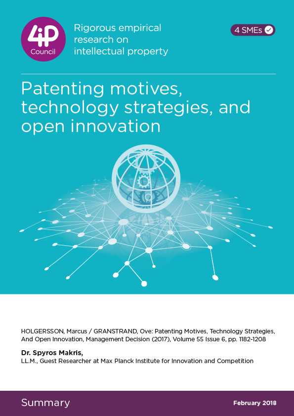 Patenting motives, technology strategies, and open innovation