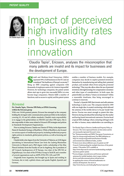 Impact of perceived high invalidity rates on business and innovation