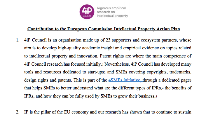 4iP Contribution to the European Commission Intellectual Property Action Plan