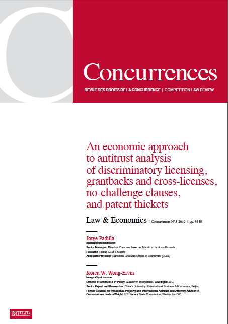 An economic approach to antitrust analysis of discriminatory licensing, grant backs and cross-licenses, no-challenge clauses, and patent thickets (Full paper)