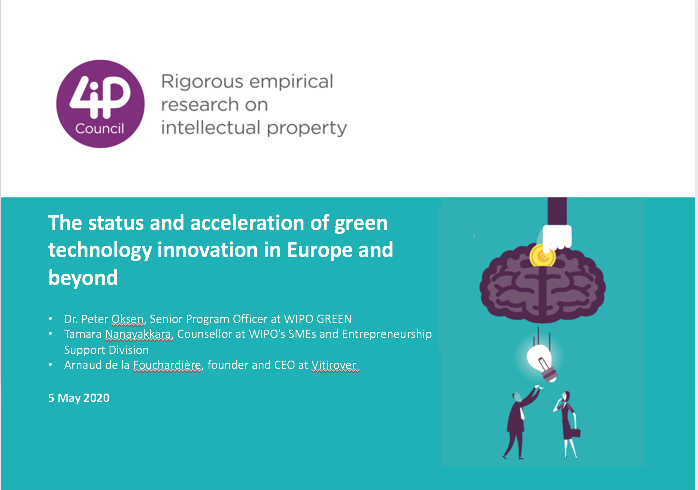 The status and acceleration of green technology innovation in Europe and beyond. Presented by Dr. Peter Oksen, Senior Program Officer, WIPO Green, Tamara Nanayakkara Counsellor, SMEs and Entrepreneurship Support Division, WIPO and Arnaud de la Fouchardière, CEO, Vitirover