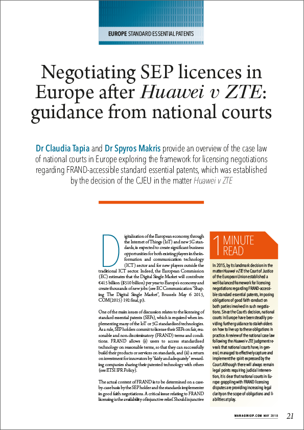 Negotiating SEP licenses in Europe after Huawei v ZTE: guidance from national courts
